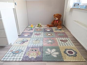 Kinderteppich eule grün  Amazon.de: Kinder Teppich Schmetterling Eule Spielteppich ...