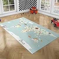 PlayGround Tappeto Bambini Cameretta - Tappeto Cameretta Bambino, Mappa del Mondo - Tappeto per Bambini Ripiegabile…