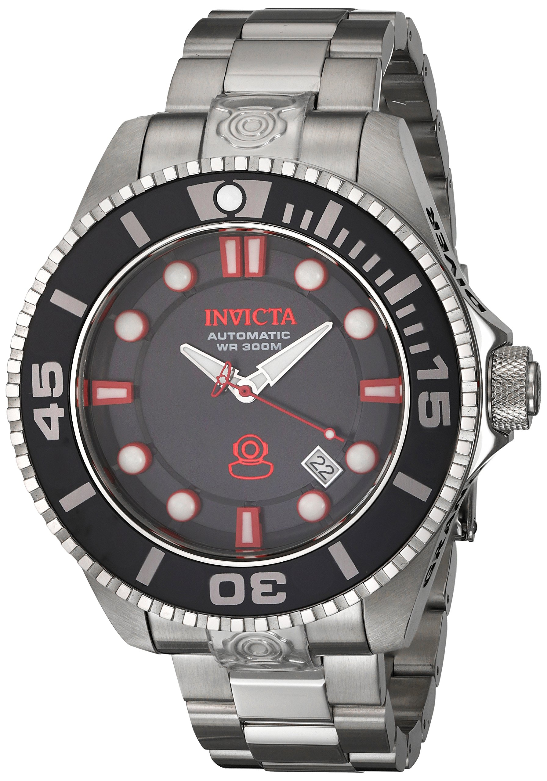 Invicta Men's 47mm Automatic Silver Steel Bracelet & Case Date Watch 19798