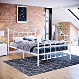 Vida Designs Paris Petit lit Double 1,2 m Tête de lit en métal Pied de lit Haut Meuble de Chambre Blanc