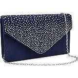 Milisente Damen Abendtasche Glitter Clutch Hochzeit Schultertasche Elegante Handtasche Abendtasche marineblau (Blau/blaue clu