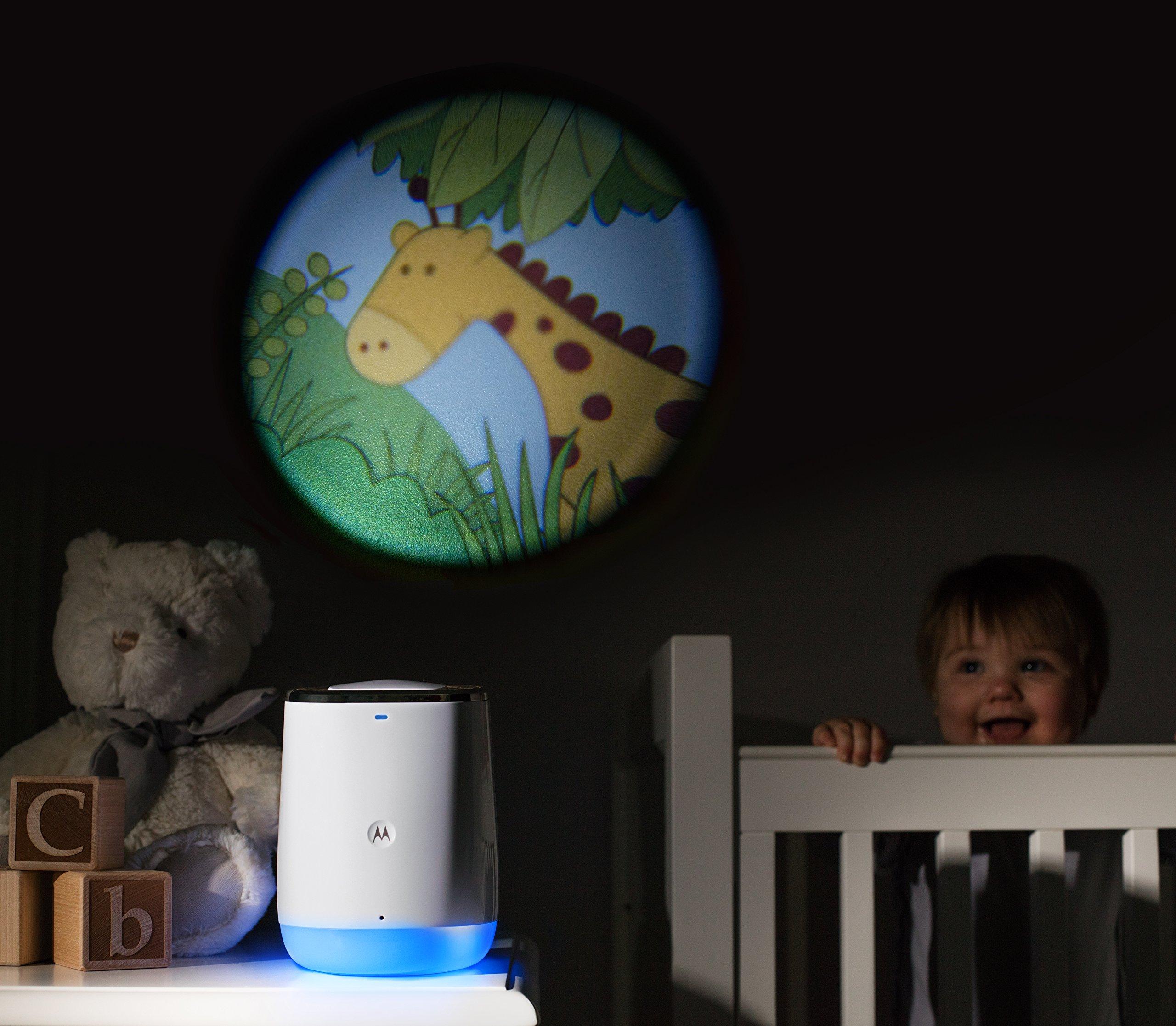 Motorola Smart Nursery Dream Machine Audio Baby Monitor with Lightshow Projector Motorola Connected audio baby monitor Lightshow projector with 3 animated scenes Night light with changeable colours 5