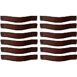Brute Strength - Leren Handgrepen - Kastanje Bruin - 12 stuks - 20 x 2,5 cm - incl. 3 kleuren schroeven per leren handvat voo
