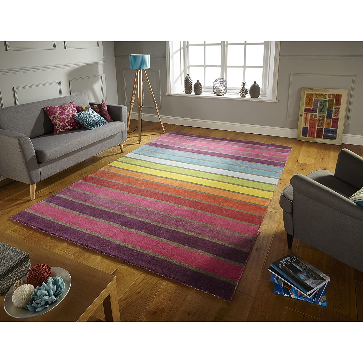 flair rugs illusion candy stripe  wool hand tufted rug multi  - flair rugs illusion candy stripe  wool hand tufted rug multi  x cm amazoncouk kitchen  home