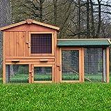 """ZooPrimus Kleintier-Stall Nr 01 Kaninchen-Käfig """"HASENVILLA"""" Meerschweinchen-Haus für Außenbereich (Breite 145cm, Tiefe 53cm, Höhe 86cm, geeignet für Kleintiere: Hasen, Kaninchen, Meerschweinchen usw.)"""