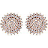 I Jewels 18K Rose Gold Plated CZ American Diamond Round Studs Earrings for Women (E2886)