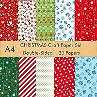 FEPITO 30 feuilles de papier à motif de Noël, papier décoratif A4 pour la fabrication de cartes de décoration de…