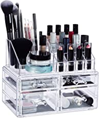 Relaxdays Make-up Organizer mit 4 Schubladen, Make up Kit für Lippenstift, Nagellack, Kosmetikregal Acryl, Transparent