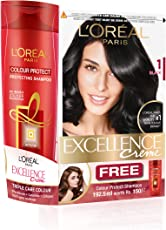 L'Oreal Paris Excellence Hair Color, Shade 1 Black, 123ml with Color Protect Shampoo, 192.5ml Free