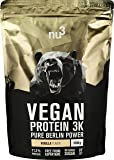 nu3 Vegan Protein 3K Shake - Vanilla Blend - 1 Kg Plant Based Protein Powder with Vanilla Flavour - made from 3-Component-Protein - with 71% Protein - Lactose and Sugar free - Before and After Workout