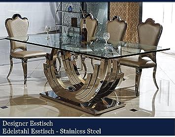 Designer Esstisch Edelstahl Esszimmer Tisch Glastisch Glas Hochglanz  (220cmx110cmx75cm): Amazon.de: Küche U0026 Haushalt