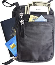 UNIGEAR Basics RFID Blocking Travel Neck Sling Wallet, Passport Pouch Black