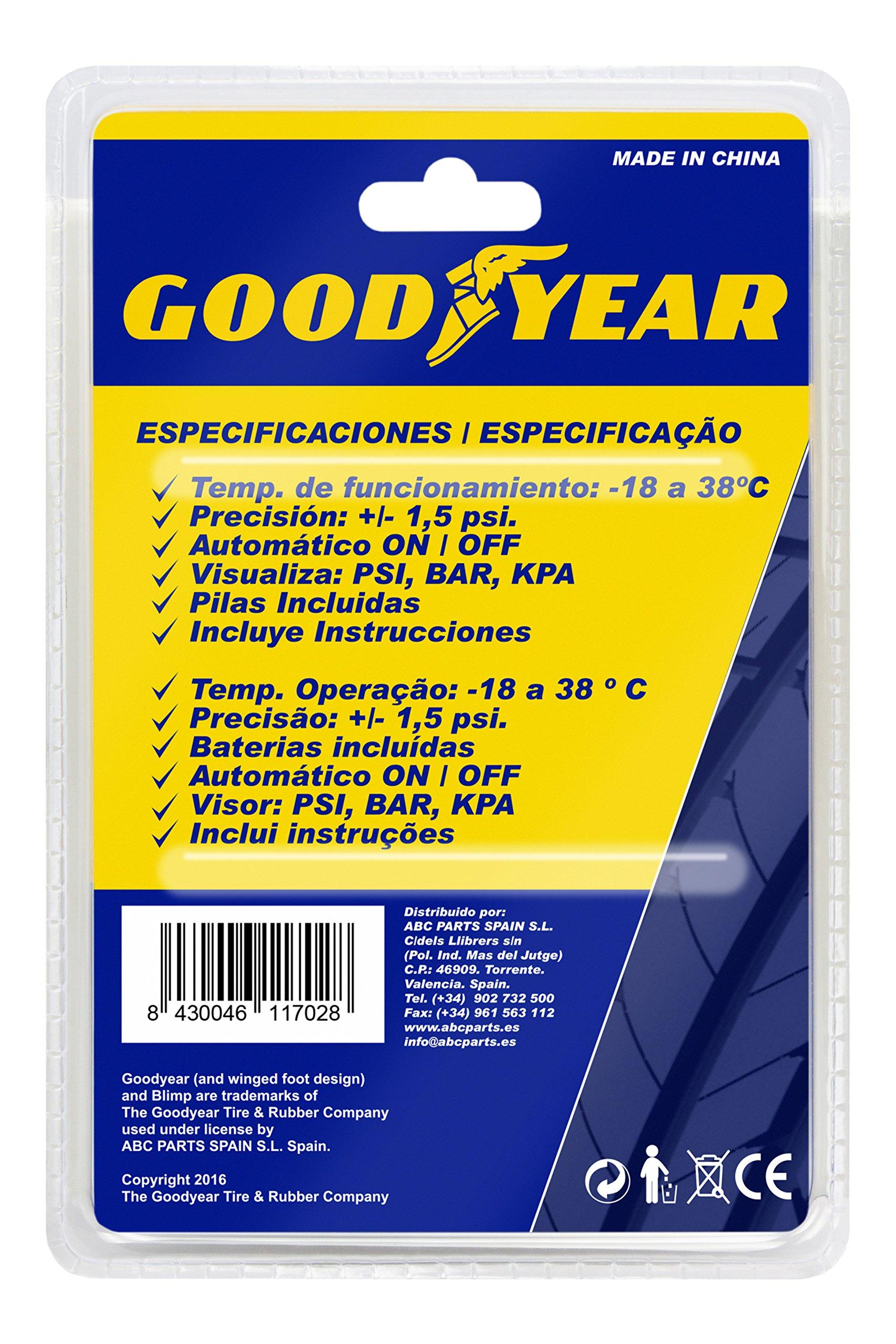 Good Year GOD0001 Medidor Corto de Presión De Neumáticos Digital, de mano
