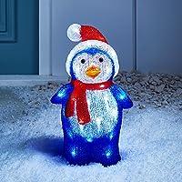 Lights4fun Pingouin Lumineux LED de Noël pour Intérieur ou Extérieur