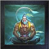 Sehaz Artworks Lord Mahaveer Hanuman Wall Decorative Photo Printed Painting (Carbon Fiber Framed, 30 cm x 30 cm x 3 cm, Black