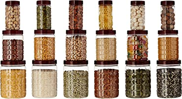 Amazon Brand - Solimo Checkered Airtight Jar Set of 18