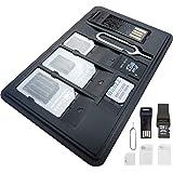 SIMcases® Étui de rangement pour cartes SIM et MicroSD avec un lecteur USB de carte MicroSD 3 adaptateurs de cartes, 1 épingle Iphone et supports de rangement pour cartes micro, nano et microSD