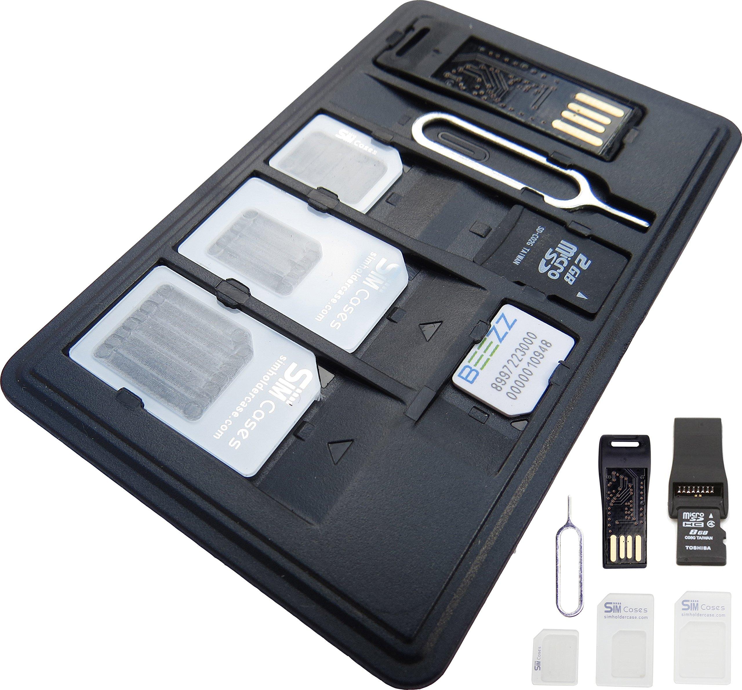 Simcases® SIM Card e micro SD card Holder Slim valigetta + 1USB lettore di schede di memoria micro