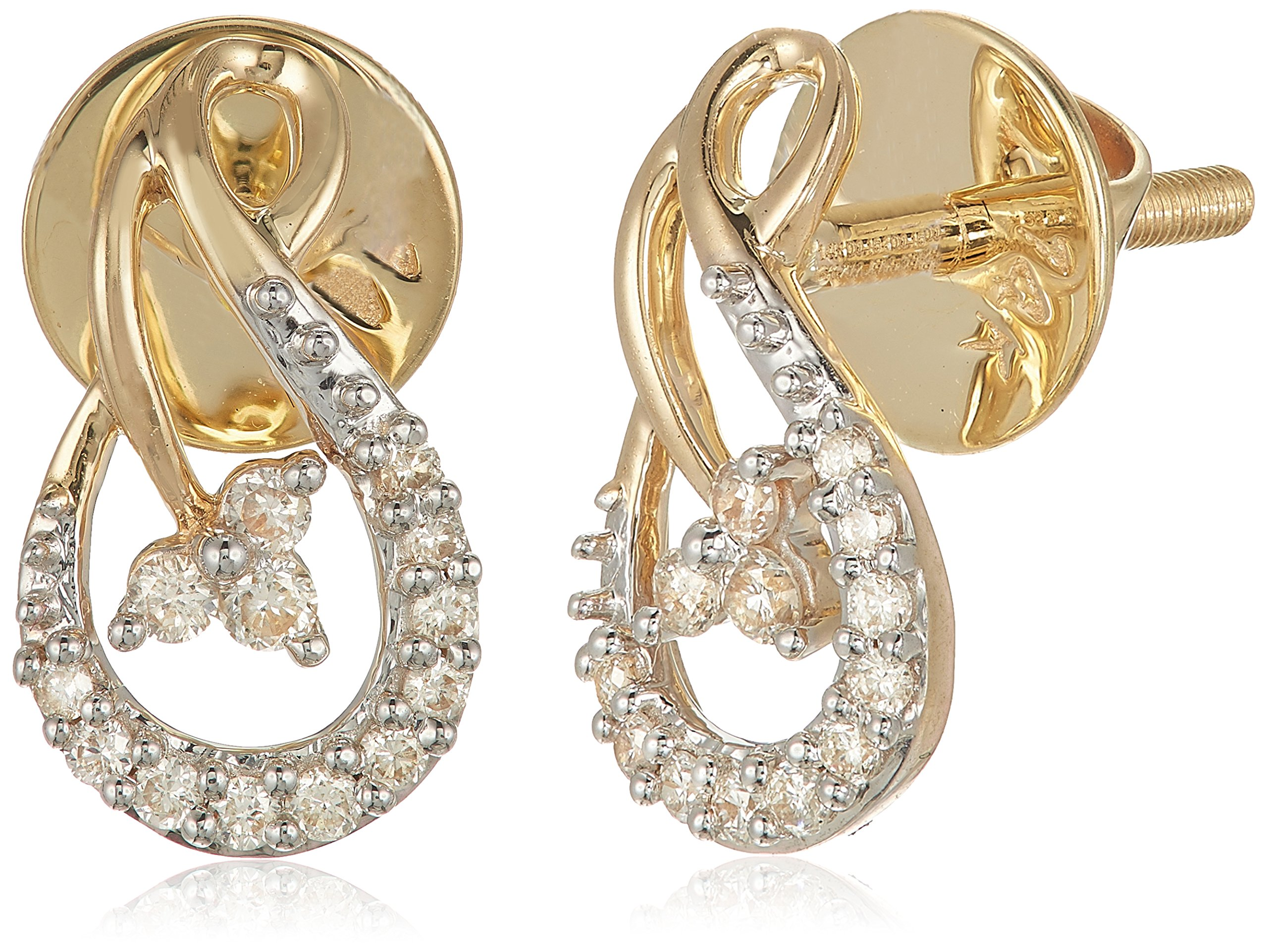 Senco Gold 14KT Yellow Gold and Diamond Stud Earrings for Women (DT-D000123779)