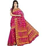 MIMOSA Women's Kanchipuram Tussar Silk Saree With Blouse (2039-PINK_Pink)