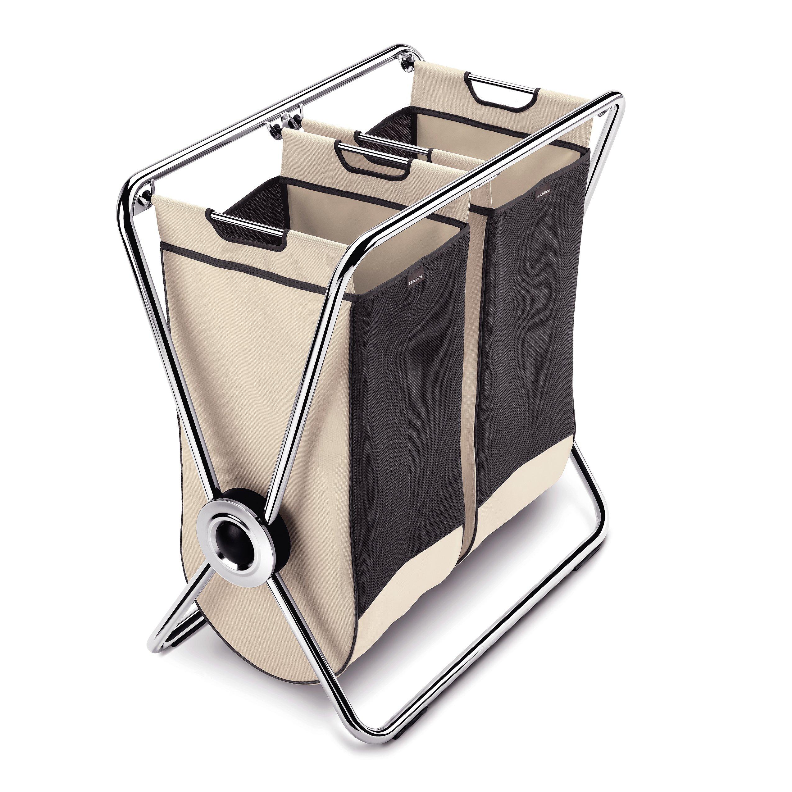 simplehuman - Portabiancheria doppio con struttura a X, acciaio cromato - garanzia 5 anni