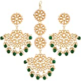 I Jewels 18K Gold Plated with Stunning Matte Finish Traditional Kundan & Faux Pearl Chandbali Earrings with Maang Tikka Set