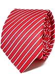 Oxford Collection Cravate Homme à rayures Rouge - 100% en Soie - Classique, Elégante et Moderne - (Idéale pour un cadeau, un mariage, avec un costume, au travail…)