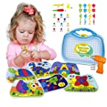 Kidtastic Building Board Drill Set STEM Toys for 4 Years Old, Screw Puzzle Peg with Real Drill, Tinker Toys for Boys...