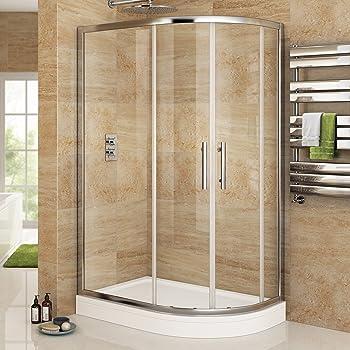 iBathUK 1200 x 800 Right Quadrant 6mm Sliding Glass Shower Enclosure ...