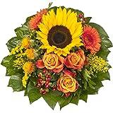 """Dominik Blumen und Pflanzen, Blumenstrauß """"Sonnenlicht"""" mit einer Sonnenblume, orangen Rosen, Germini, Färberdistel und Goldrute"""