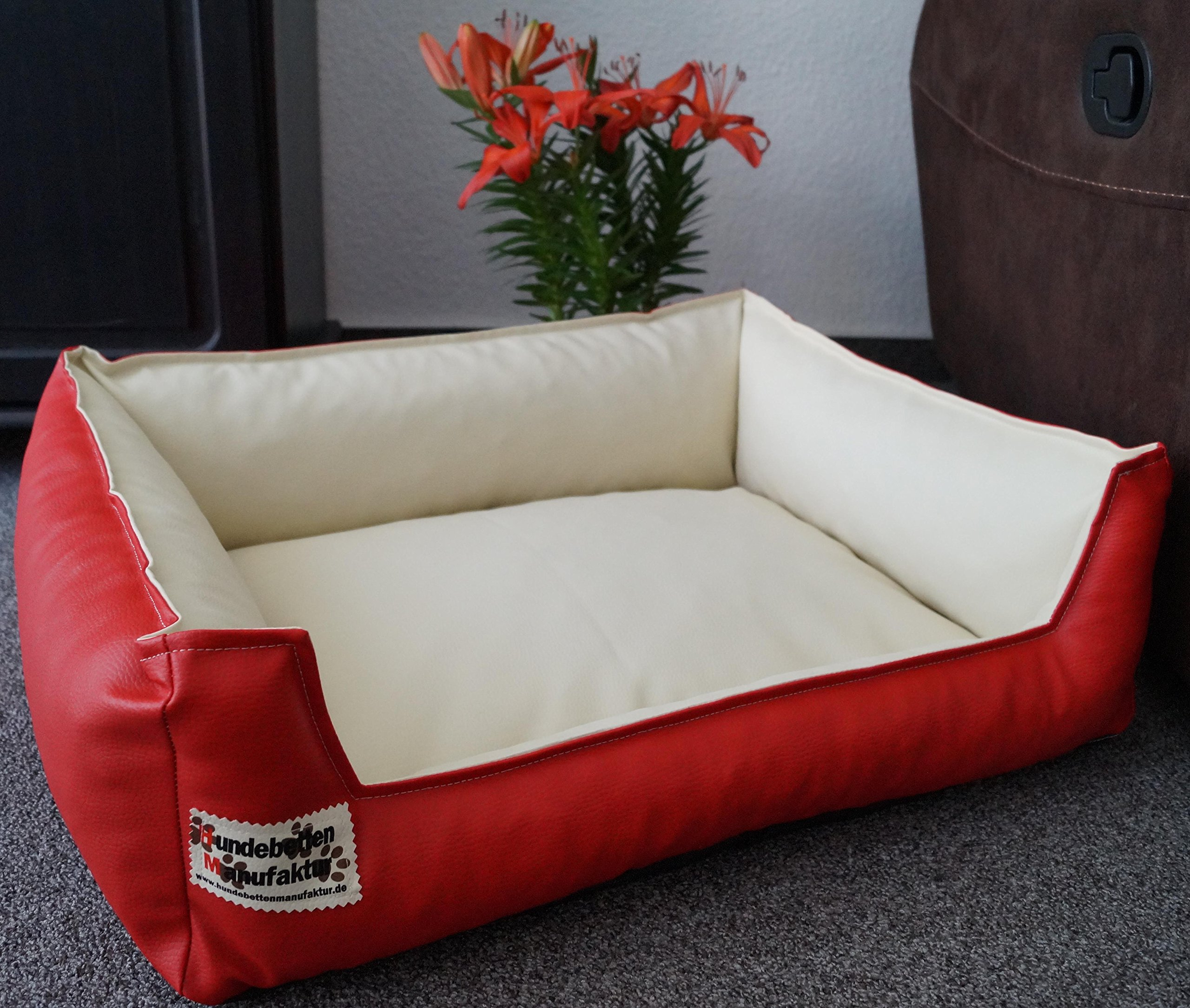 Similpelle Dog Bed / Sofa Artificial Leather 90 cm x 70 cm Red / Cream