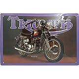 30 x 20 cm Triumph Classic Garage Moto Distributeur Moto Ann/ées 70 R/étro M/étal//Panneau Mural M/étalique