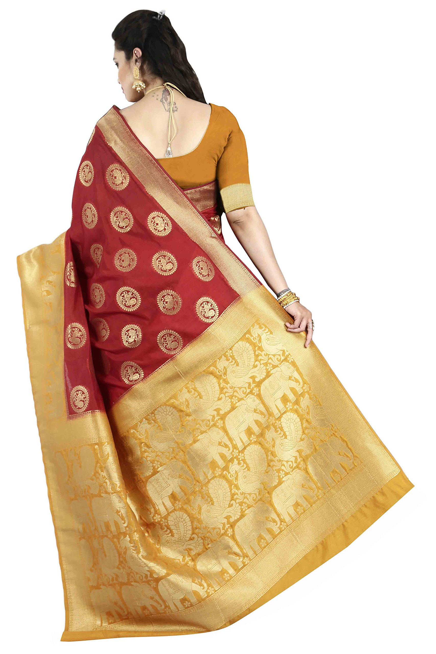 5993aad0b5 arars Women's Kanchipuram silk saree wedding collections (220 RP ...