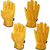 FZTEY 2 Pairs Breathable Heavy duty Gardening Gloves Ladies, Flexible Garden Safety Work Protective Leather Gauntlets for Men