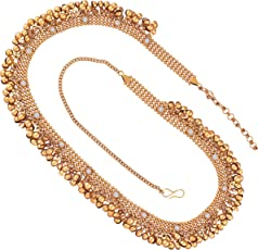 I Jewels Traditional Gold Plated Stone Studded Kamarband for Women (B023)