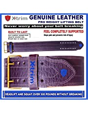 XTRIM DURA Belt-4 INCH-Genuine Suede Leather-Power- Weightlifting-Squat-Belt-Back Support-Professional Brace-Double Prong Closure-8 MM Thick-for Men-Non Slip-Long Lasting- Competition Standards !!!