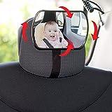 SUMEX 1 Espejo Retrovisor 3 en 1 para Vigilar al Bebé en el Coche, Ajustable 360º, Apto para los Asientos y el Parabrisas la