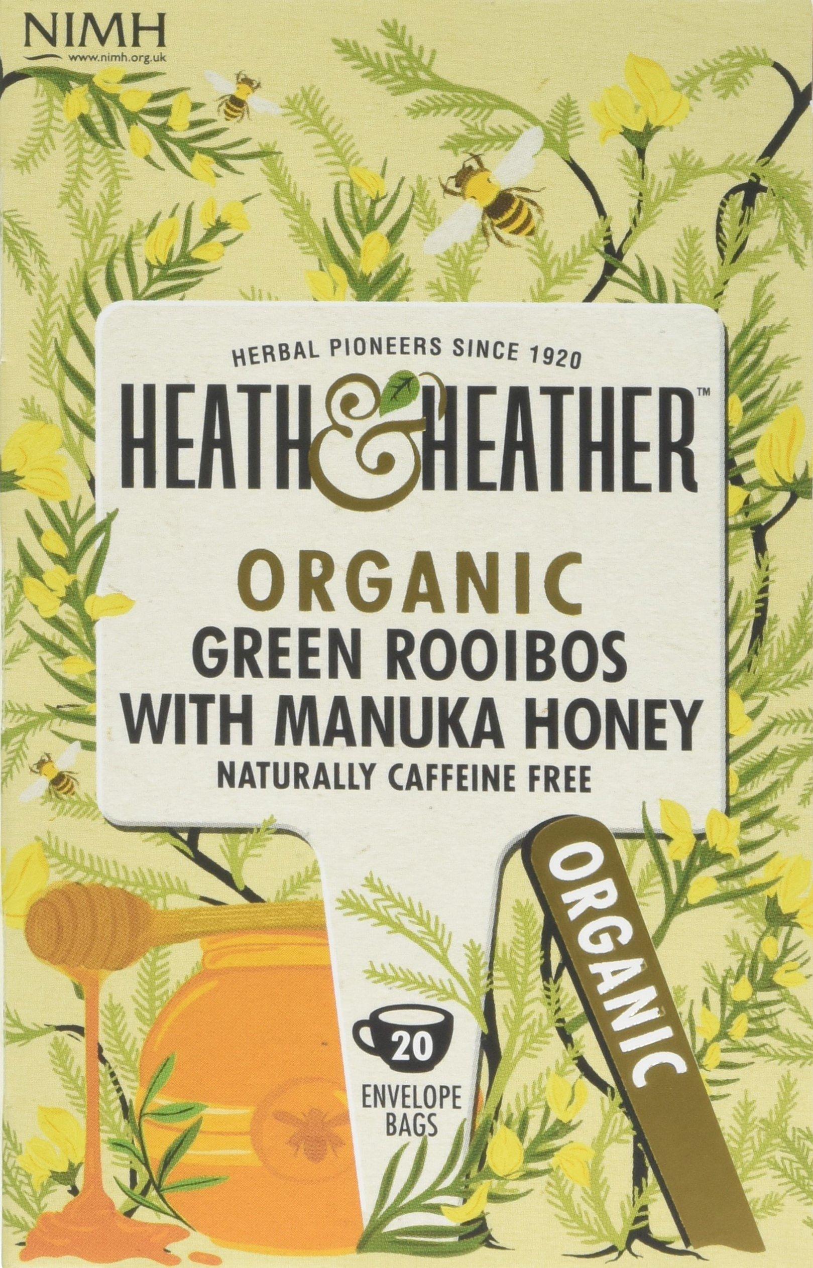 Heath & Heather organic rooibos tea bundle (soil association) (rooibos tea) (6 packs of 20 bags) (120 bags) (a sweet tea with aromas of manuka honey) (brews in 3-5 minutes)