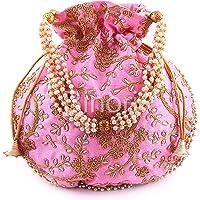 BINORI FASHIONS Rajasthani Style Royal Clutch Silk Batwa Bag Wristlets Ethnic Potli For Women's Zari Work Potli Bridal…