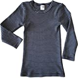 HERMKO 2683005 Camiseta térmica de Manga Larga para niños con óptica de Rayas, Hecha de 67% algodón + 33% poliéster