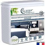 Sleeep Protège Matelas imperméable Alèse 140 x 190 Format Drap Housse de lit Hypoallergénique Anti-Acarien Ecologique Fibre d