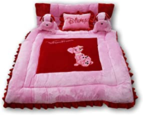 PINKS & BLUES New Born Baby Full Sleeping Bedding Set with 2 Side Pillows in a Shape of Puppies, 0-30 Months (Pink Red)