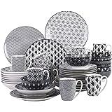 vancasso, série Haruka, 40pcs Service de Table Porcelaine 8pcs pour Assiettes Plate, Assiette Creuse, Assiette à Dessert, Bol