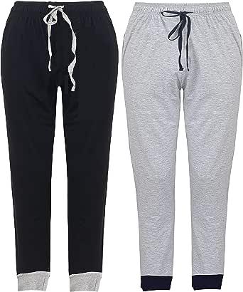 2 Pack Men's Lounge Wear Pants Nightwear Super Soft Comfy Cotton Pyjama Bottoms with Cuff