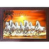 Alura Art N Frames Sunrise 7 Running HorsesSynthetic Animals Artwork, Multicolour, Vastu,Framed Painting(10.5 inch X 14 inch)