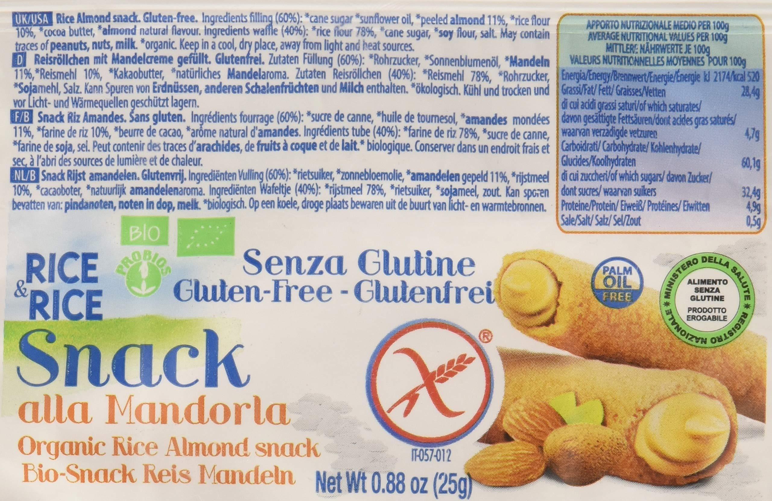 Probios Snack di Riso alla Mandorla - 24 confezioni da 25 gr, Senza glutine 3 spesavip