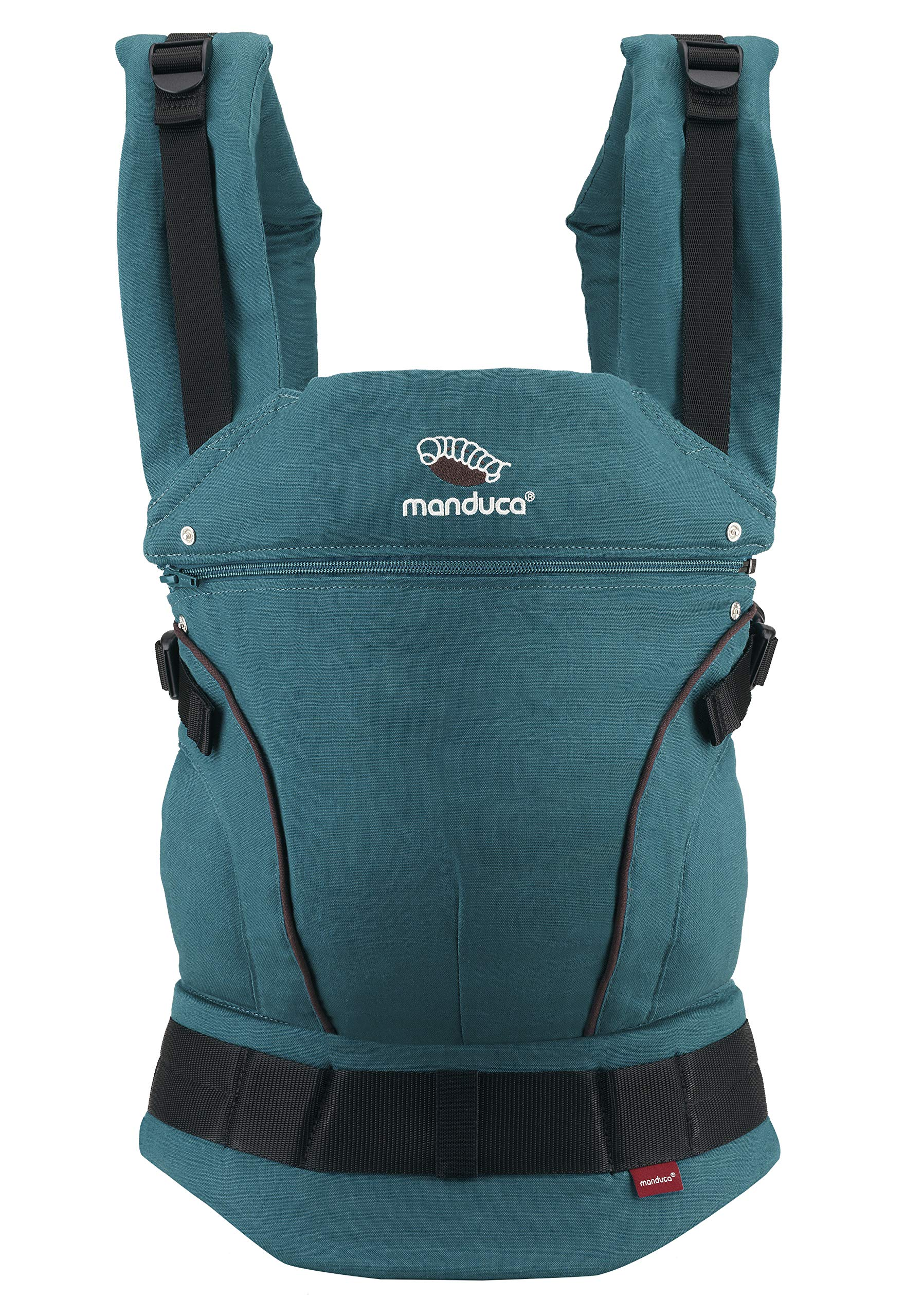 manduca First Baby Carrier > HempCotton Petrol Blue - Brown < Ergonomic Baby & Child Carrier, Soft & Sturdy Canvas (Organic Cotton & Hemp), Front, Hip & Back Carry, for Newborn to Toddlers up to 20kg Manduca manduca baby carrier First HempCotton: the original made of hemp & organic cotton with patented back extension, is already a classic. New features: Improved three-point-buckle (secure & easy to open) Integrated in every carrier: infant pouch (newborn insert), stowable headrest & sun protection for your baby, back extension (grows with your child); Optional accessories for newborns: Size-It (seat reducer) and Zip-In Ellipse Ergonomic design for men & women: Soft padded shoulder straps (multiple adjustable) & the anatomically shaped stable hipbelt (fits hips from 64cm to 140cm) ensure balanced weight distribution. No waist-belt extension needed 1