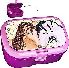 alles-meine.de GmbH Lunchbox / Brotdose - Pferde & Blumen - BPA frei - mit extra Einsatz / herausn..