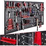 Arebos Gereedschapswand in drie delen | 17-delige haken set | 120 x 60 x 2 cm