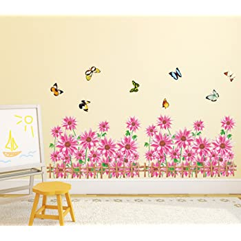 Buy Amazon Brand - Solimo Wall Sticker for Living Room (Flowery ...